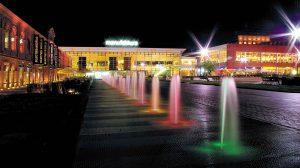 Manufaktura, Łódź-Pologne – Place extérieure fontaine - Apsys